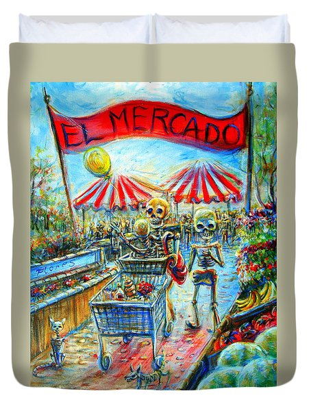 Duvet Cover featuring the painting El Mercado by Heather Calderon