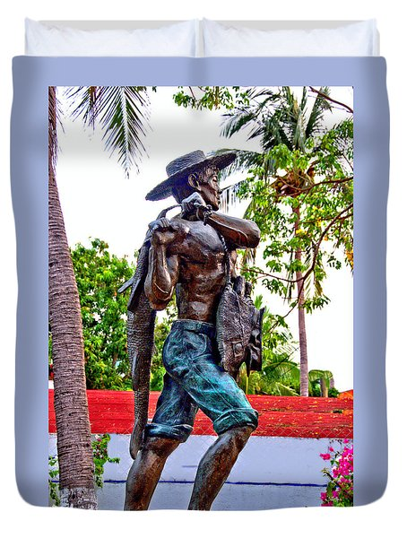 Duvet Cover featuring the photograph El Pescador by Jim Walls PhotoArtist