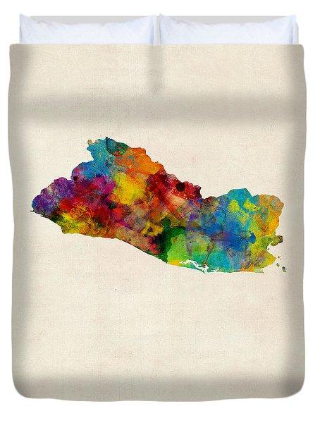 El Salvador Watercolor Map Duvet Cover