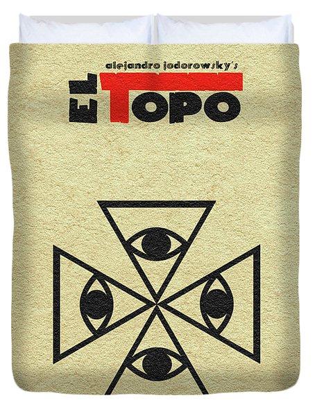 Duvet Cover featuring the digital art El Topo by Ayse Deniz