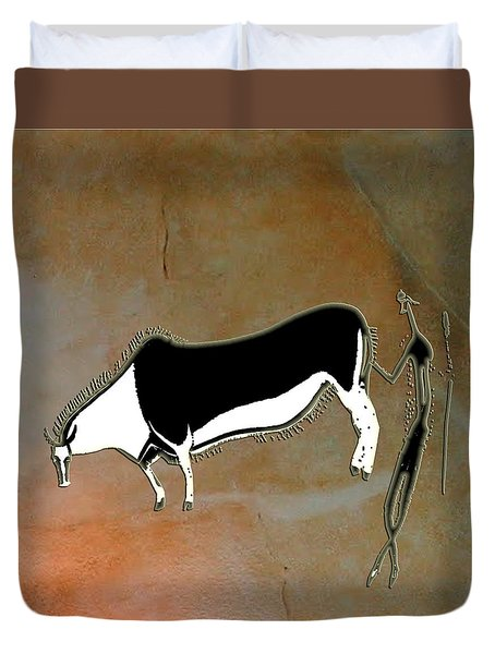 Duvet Cover featuring the digital art Eland And Man by Asok Mukhopadhyay