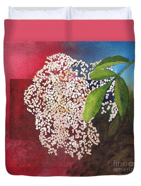 Elderberry Blossom In Watercolor Duvet Cover