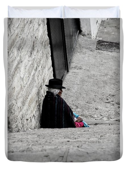 Elderly Beggar In Chordeleg Duvet Cover by Al Bourassa