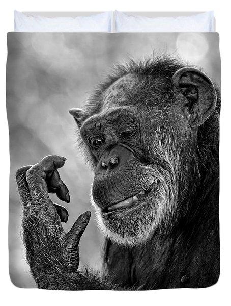 Elderly Chimp Studying Her Hand Duvet Cover