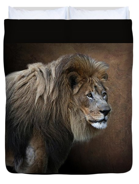 Duvet Cover featuring the photograph Elderly Gentleman Lion by Debi Dalio
