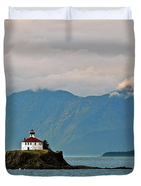 Eldred Rock Lighthouse Skagway Duvet Cover