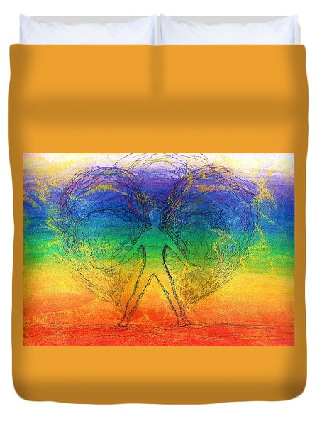 Duvet Cover featuring the mixed media Electric Angel by Denise Fulmer