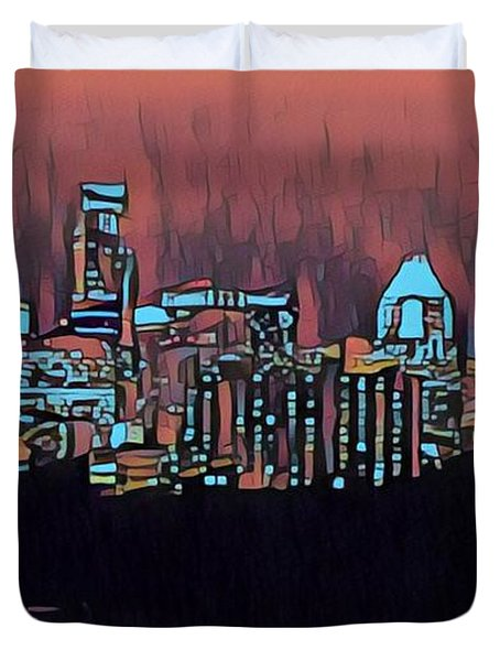 Electric Austin At Dusk Duvet Cover