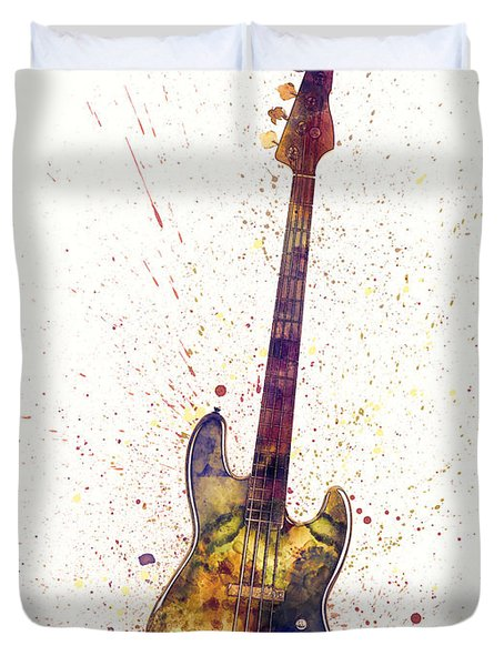 Electric Bass Guitar Abstract Watercolor Duvet Cover