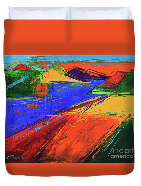 Duvet Cover featuring the painting Electric Color by Jeanette French