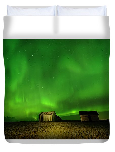 Electric Green Skies Duvet Cover
