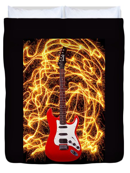 Electric Guitar With Sparks Duvet Cover by Garry Gay