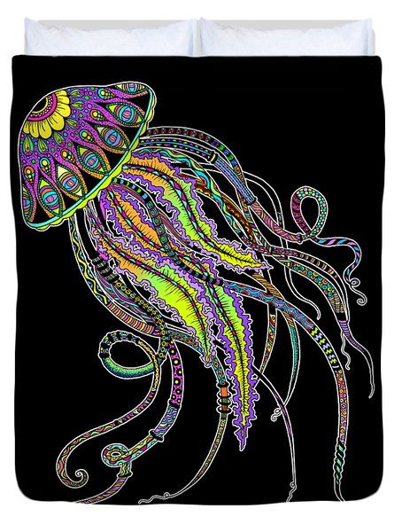 Duvet Cover featuring the drawing Electric Jellyfish On Black by Tammy Wetzel