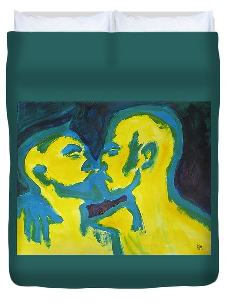 Duvet Cover featuring the painting Electric Kiss by Shungaboy X
