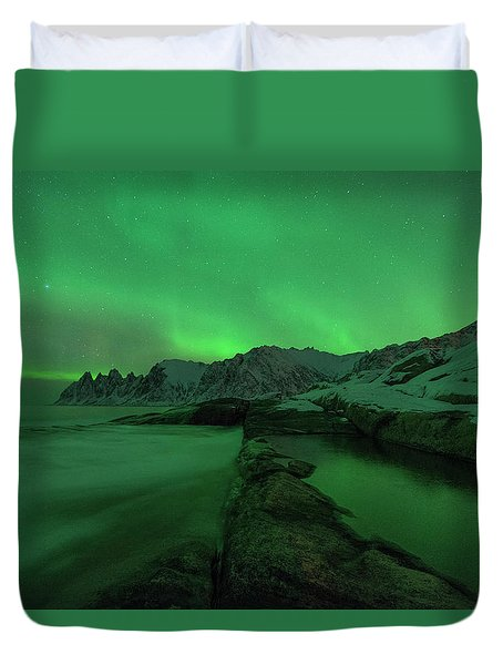 Duvet Cover featuring the photograph Electric Night by Alex Lapidus