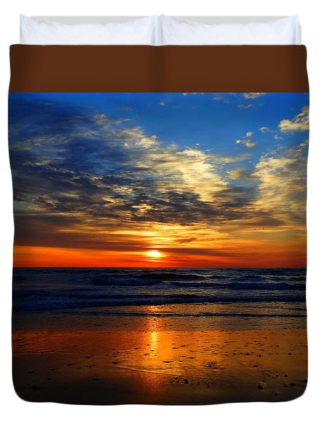 Electric Golden Ocean Sunrise Duvet Cover