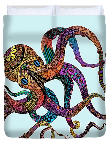 Electric Octopus - Customizable Background Duvet Cover by Tammy Wetzel