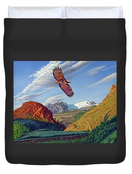 Electric Peak With Hawk Duvet Cover