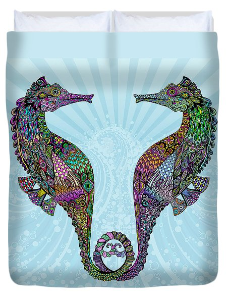 Duvet Cover featuring the drawing Electric Seahorses by Tammy Wetzel