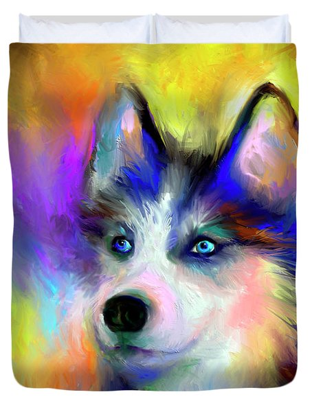 Electric Siberian Husky Dog Painting Duvet Cover