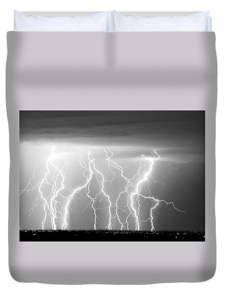Electric Skies In Black And White Duvet Cover by James BO  Insogna
