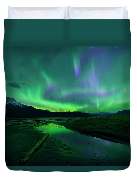 Electric Skies Over Jasper National Park Duvet Cover