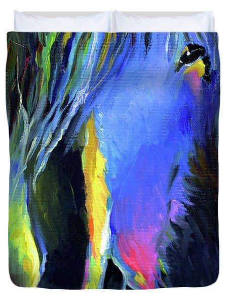 electric Stallion horse painting Duvet Cover by Svetlana Novikova