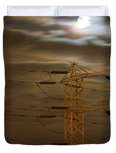 Electric Tower Under Supermoon Duvet Cover
