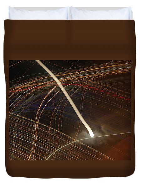 Duvet Cover featuring the pyrography Electric Universe by Michael Lucarelli