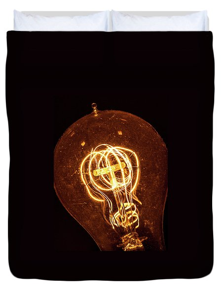 Duvet Cover featuring the photograph Electricity Through Tungsten by T Brian Jones