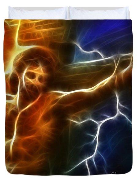 Electrifying Jesus Crucifixion Duvet Cover by Pamela Johnson