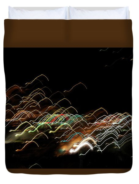 Duvet Cover featuring the pyrography Electronic Landscape by Michael Lucarelli