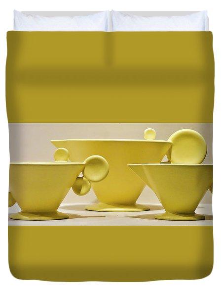 Elegant 1950s Ceramic Cups Duvet Cover