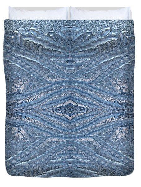 Elegant Blues Frosty Window Design Duvet Cover