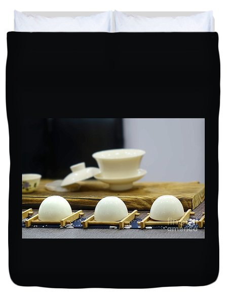 Elegant Chinese Tea Set Duvet Cover