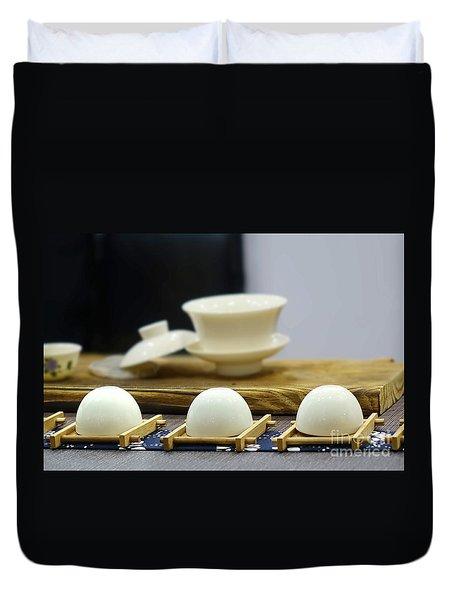 Elegant Chinese Tea Set Duvet Cover