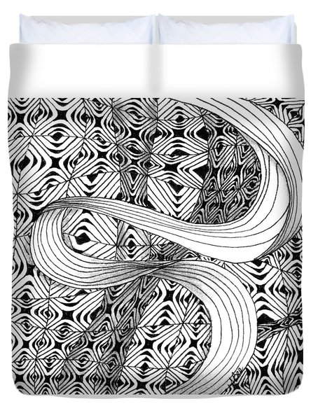 Duvet Cover featuring the drawing Elegant Disturbance by Jan Steinle
