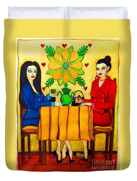Duvet Cover featuring the painting Elegant Ladies In A Coffee-shop by Don Pedro De Gracia