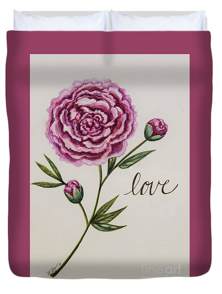 Duvet Cover featuring the painting Elegant Love by Elizabeth Robinette Tyndall