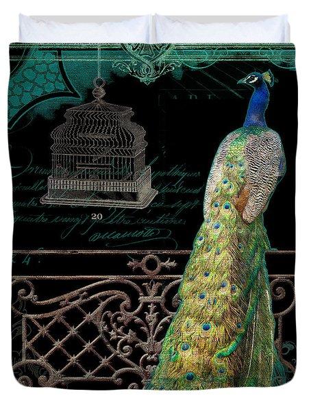 Elegant Peacock Iron Fence W Vintage Scrolls 4 Duvet Cover