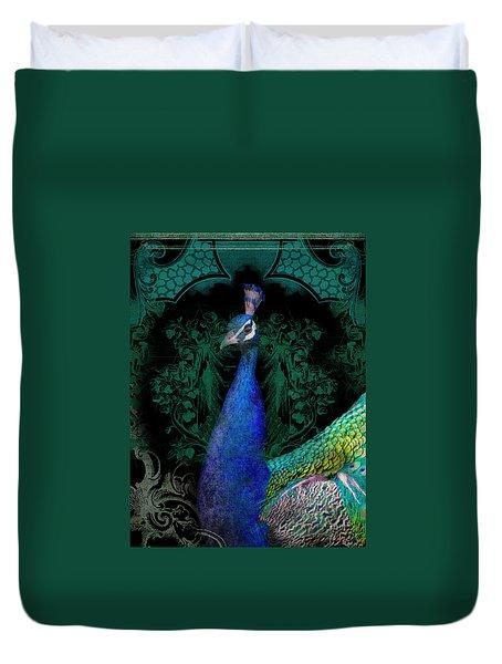 Elegant Peacock W Vintage Scrolls  Duvet Cover