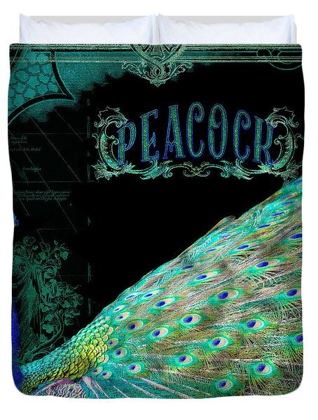Elegant Peacock W Vintage Scrolls Typography 4 Duvet Cover