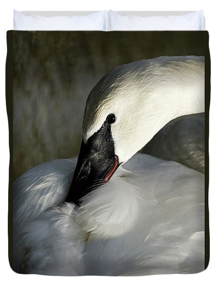 Duvet Cover featuring the photograph Elegant Trumpeter Swan by Sue Harper