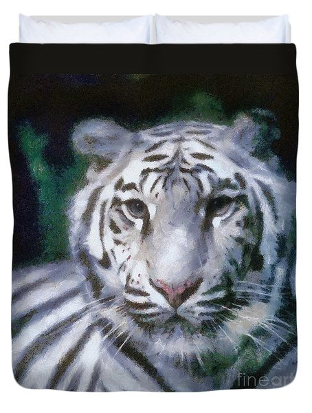 Duvet Cover featuring the painting Elegant White Tiger by Elizabeth Coats
