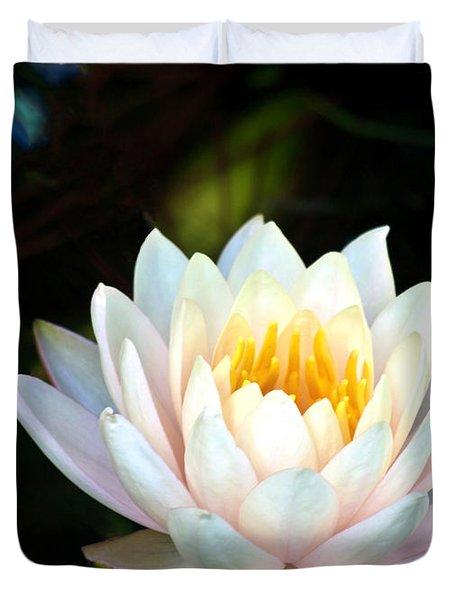 Elegant White Water Lily Duvet Cover