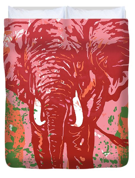 Elehpant Pop Art Etching Poster  Duvet Cover