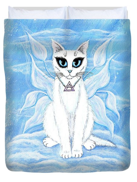 Duvet Cover featuring the painting Elemental Air Fairy Cat by Carrie Hawks