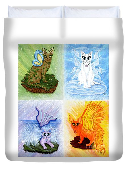 Duvet Cover featuring the painting Elemental Cats by Carrie Hawks