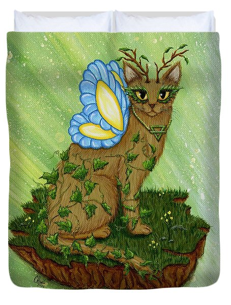 Duvet Cover featuring the painting Elemental Earth Fairy Cat by Carrie Hawks