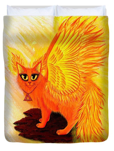 Duvet Cover featuring the painting Elemental Fire Fairy Cat by Carrie Hawks